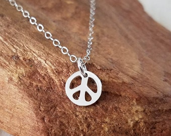 Peace Sign Necklace, Peace Sign Charm Necklace, Tiny Sterling Silver Peace Sign Necklace, Sterling Silver Peace Sign Charm Necklace