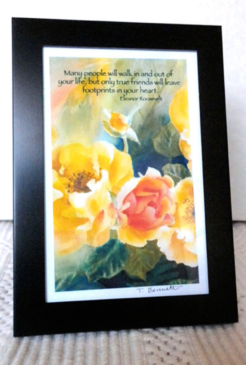 Birthday Gift For Friend Yellow Roses Art Eleanor Roosevelt Etsy