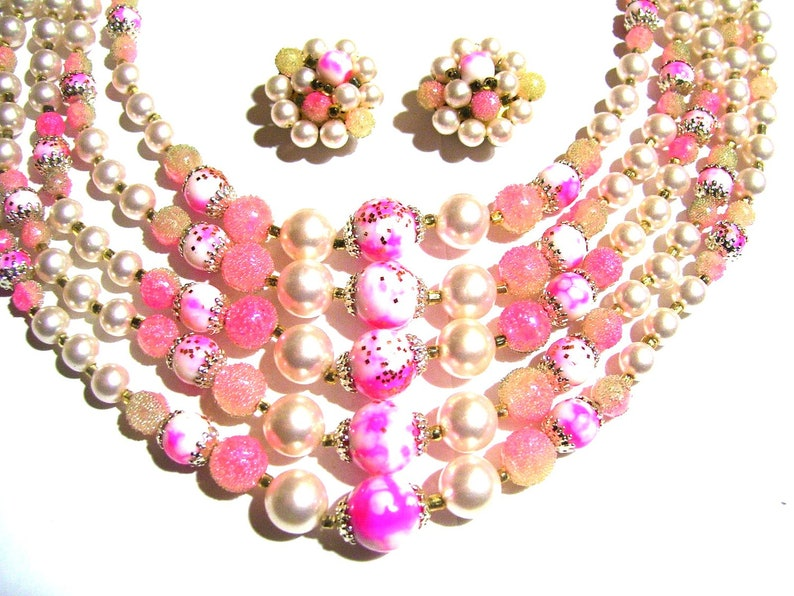 f266d614dbde58 Vintage 5 Strand Pink Art Glass Sugar Beads Necklace & | Etsy