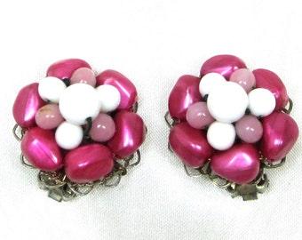Vintage Milk Glass Cluster Earrings, Molded Plastic Beads, Clip On