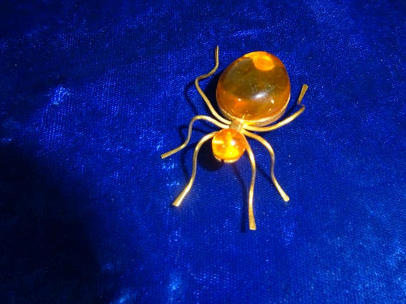 Antique Art deco Spider brooch Russian Amber Spide