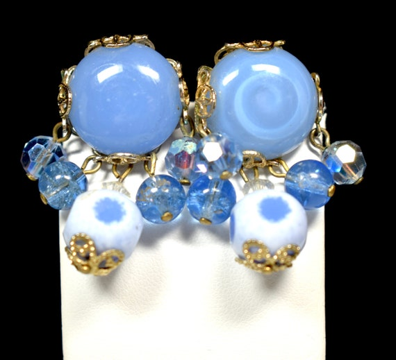 Enamel floral and leaf screw back earrings Lot of 2 pairs of mid century earrings powder blue floral earrings black leaf earrings