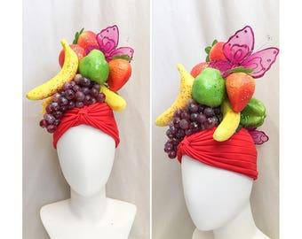 Glitter Fruit Turban Headdress // Fruit Headdress, 1940s Hollywood Costume, Mardi Gras Costume, Banana Hat