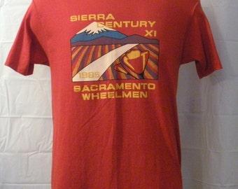 Amazing Vintage 1985 SIERRA CENTURY SACRAMENTO Graphic Mountain Retro Men Women 50/50 Small Medium California T-Shirt