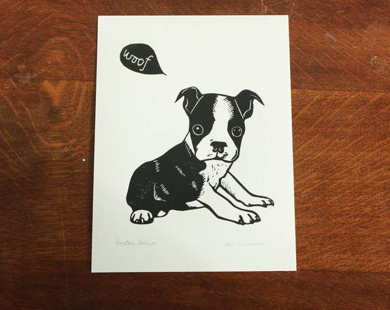 Boston Terrier puppy, original linocut print, Signed Open Edition, Free Postage in UK, Hand Pulled, block print, Printmaking,