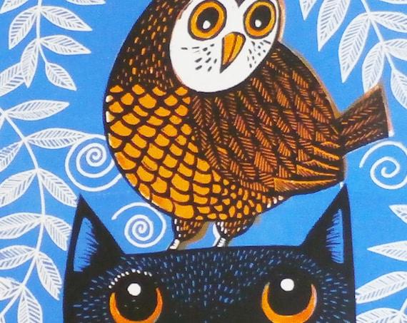 owl and cat linocut print