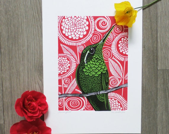 Hummingbird linocut print - Hummingbird linoprint - mothers day gift - gift for her - Signed Open Edition - Free Postage - Kat Lendacka