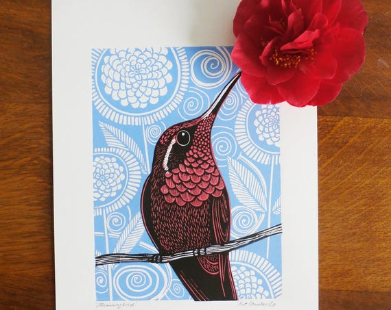 Hummingbird, pink, Original Linocut Print, Signed Open Edition, Free Postage in UK, Hand Pulled, Printmaking,