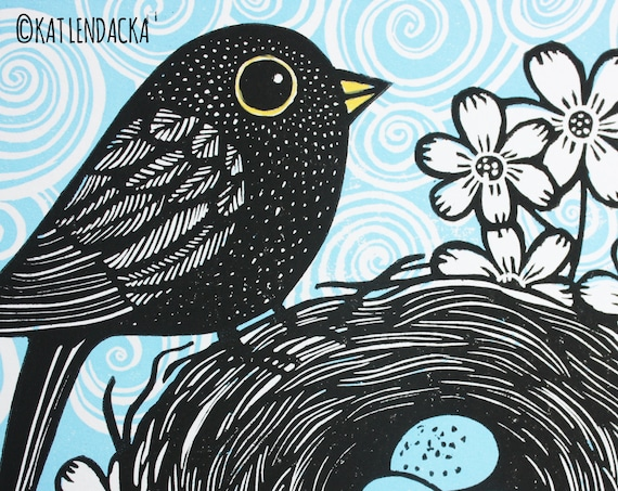 blackbird linocut print - free postage in UK