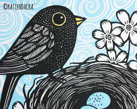 blackbird linocut print