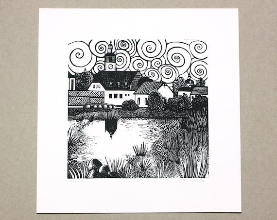 Litomerice linocut print