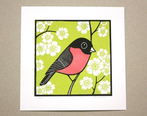 bullfinch linocut print
