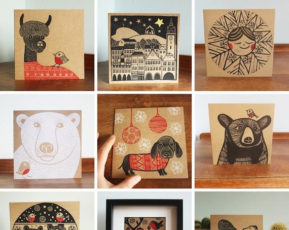 5 christmas linocut cards - free postage in UK