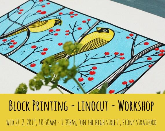 Block Printing Workshop - Linocut - 10.30am - 1.30pm - 27. 2. 2019 - On the High Street, Stony Stratford, Kat Lendacka - UK