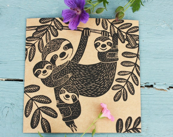 Daddy Sloth, Fathers Day Card, Original Linoprint, Linocut Card, Blank Greeting Card, Brown Kraft Card, Free Postage in UK, by Kat Lendacka