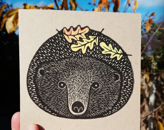 hedgehog linocut card - hedgehog - hand printed - Kat Lendacka - linoprint - blank greeting card - brown kraft card - free postage in UK
