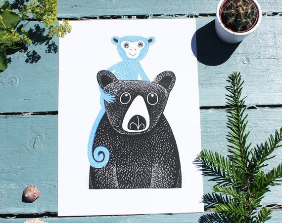 linocut print - bear and  monkey - original linocut print - linoprint - block print - signed open edition - free postage - Kat Lendacka