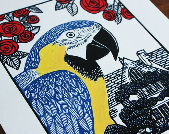 Linocut Print - Blue and Gold Macaw - Original Linocut -  Signed Limited Edition of 4 - Free Postage in UK - Hand Pulled - Printmaking,