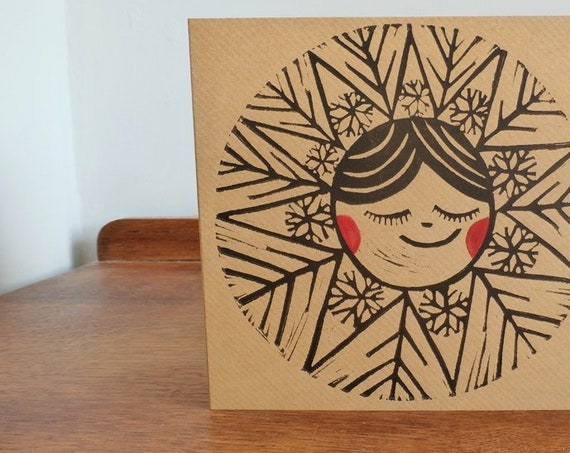 christmas linocut card - snowflake - free postage in UK