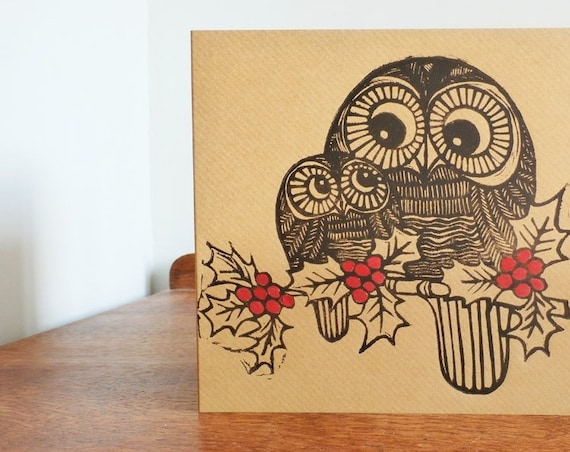 christmas linocut card - owls in holy - hand printed card - Kat Lendacka - blank greeting card - brown kraft card - freepostage in UK