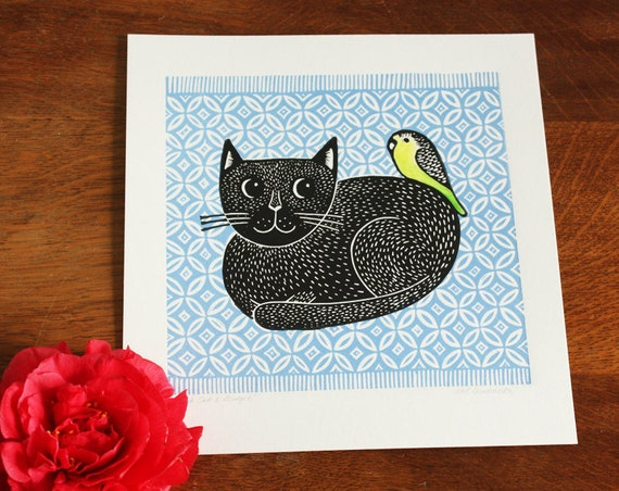 linocut print - black cat and budgie linocut – blue rug -  signed open edition - Kat Lendacka - free postage in UK - block print