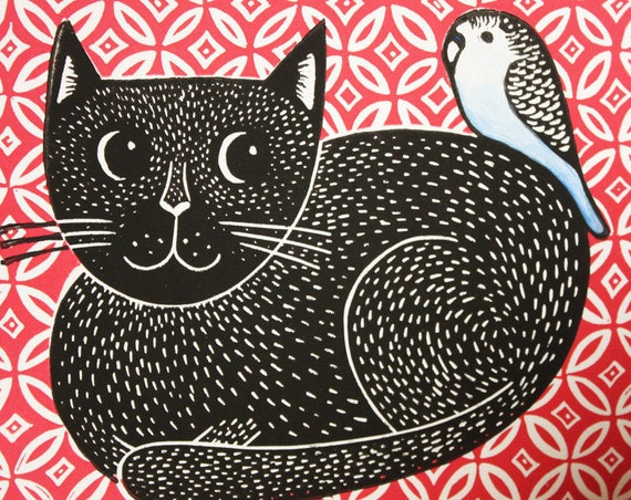 cat linocut print - free Postage in UK