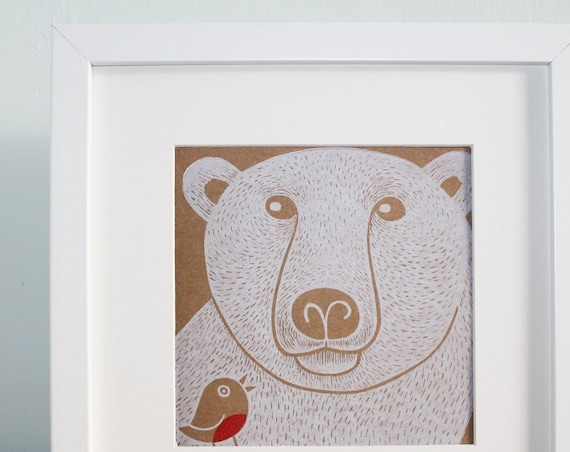 polar bear - christmas linocut card - hand printed - christmas blank greeting card - Kat Lendacka - brown kraft card - free postage in UK