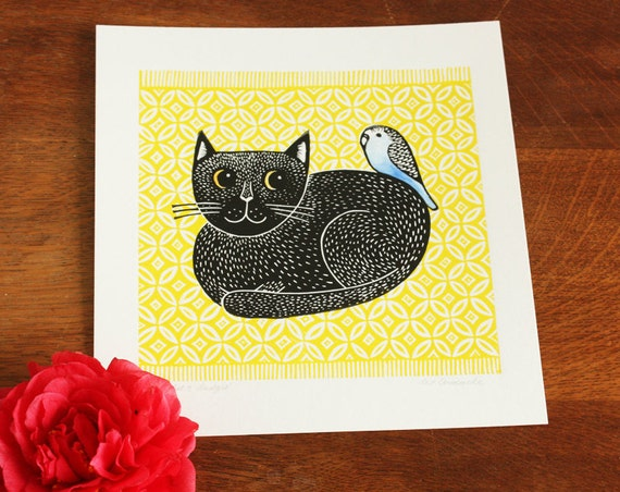 linocut print - black cat and budgie - Kat Lendacka - handprinted - signed open edition - free postage in UK - block print - printmaking