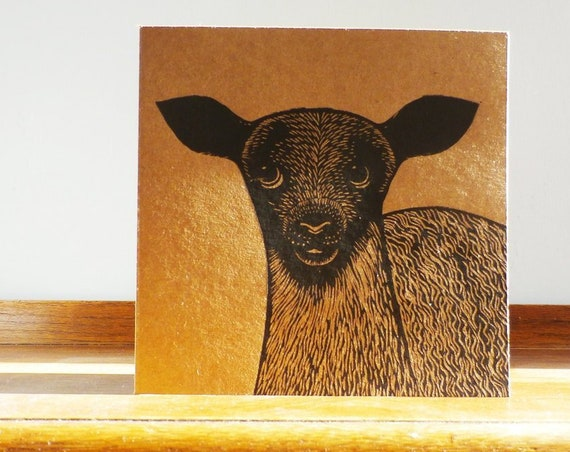 Lamb, Original Hand Printed Card, Linocut Card, Blank Greeting Card, Brown Kraft card,  Free Postage in UK,