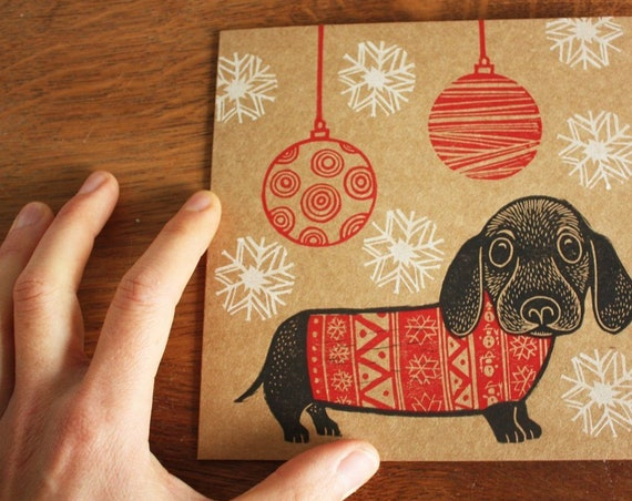 christmas linocut card - sausage dog christmas card - hand printed - Kat Lendacka - blank greeting card - kraft card - free postage in UK