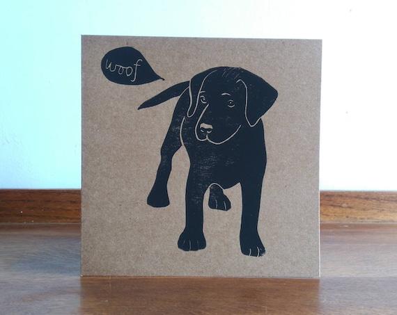Pup, Black Labrador, Original Hand Printed Card, Linocut Card, Blank Greeting Card, Brown Kraft Card, Free Postage in UK,