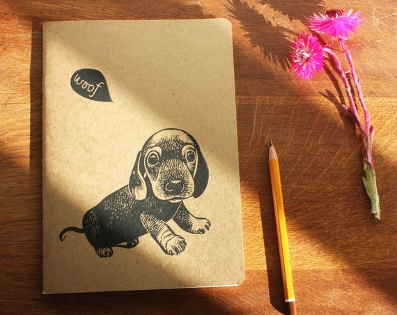 A5 sketchbook - sausage dog - gift for her - A5 recycled notebook - hand printed linocut - Kat Lendacka -  Free Postage in the UK