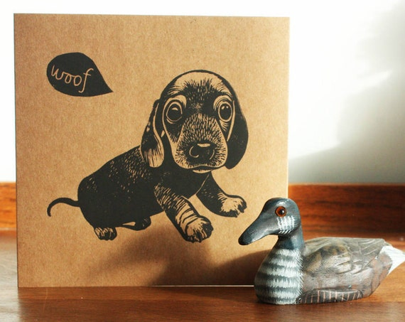 Sausage Dog, Animal linocut card, Original Hand Printed Card, Fathers Day Card, Brown Kraft Card, Free Postage in UK,