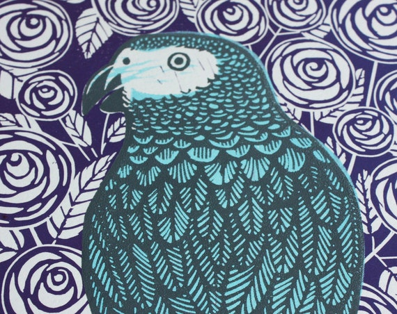 Linocut Print - African Grey Parrot - Original Linocut Print - Signed Limited Edition of 25 - Free Postage in UK - Printmaking - Block Print