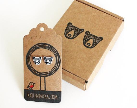 bear earrings - free postage in the UK