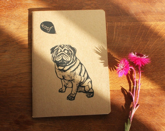 Pug, Valenstine's gift, sketchbook, A5 Recycled Notebook, Plain White Pages, Hand Printed Linocut, Printmaking, Free Postage in the UK