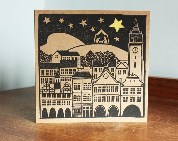 linocut christmas card - nativity scene - old architecture - Kat Lendacka - blank greeting card - brown kraft card - free postage in UK
