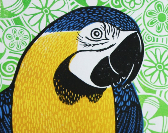 Rodney, Blue and Gold Macaw, by Kat Lendacka, Original Linocut Print, Signed Open Edition, Free Postage in UK, Hand Pulled, Printmaking,