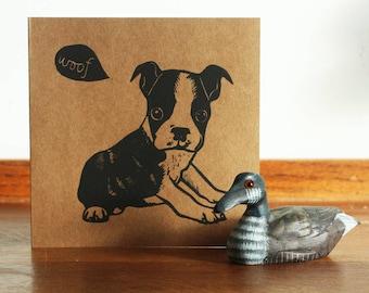 Boston Terrier Linocut Print, Dog Linocut Card, Original Hand Printed Card, Blank Greeting Card, Kat Lendacka, Free Postage in UK