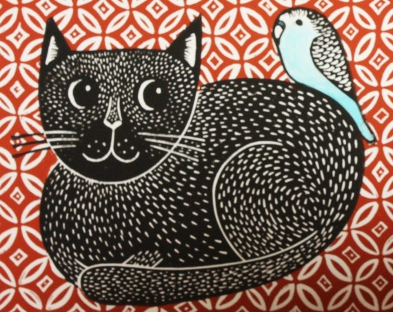 linocut print -black cat and budgie – brown rug  - signed open edition - free postage in UK - block print - Kat Lendacka - printmaking,