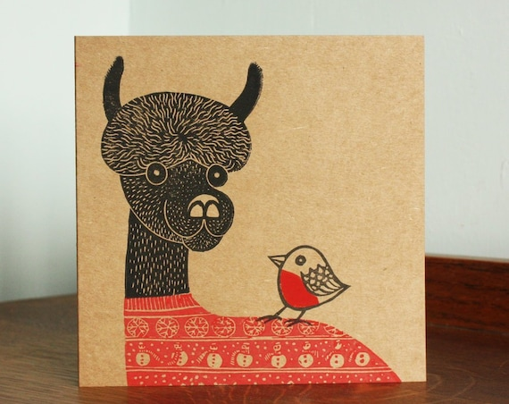 linocut christmas greeting card - llama in christmas jumper - Kat Lendacka - blank greeting card - brown kraft card - free postage in UK