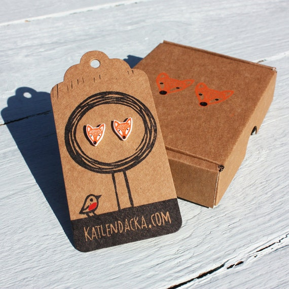 fox earrings - free postage in the UK