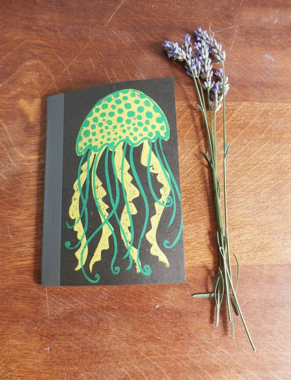 Jellyfish Muji Notebook - A6 Recycled Notebook - Lined Notebook - Hand Printed Linocut print -  Black notebook - teacher gift - Kat Lendacka