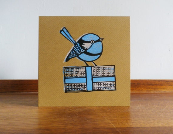 Blue Wren, Bird, Woodland Animal, Original Hand Printed Card, Linocut Card, Blank Greeting Card, Brown Kraft Card, Free Postage in UK,