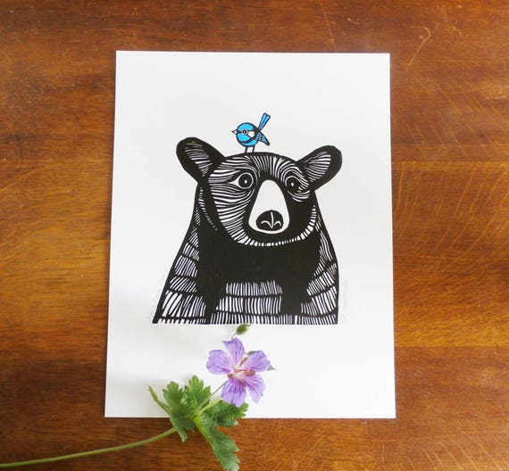 bear linocut print - bear and fairy wren lino print - Kat Lendacka - original linocut print - open signed edition - free postage in UK