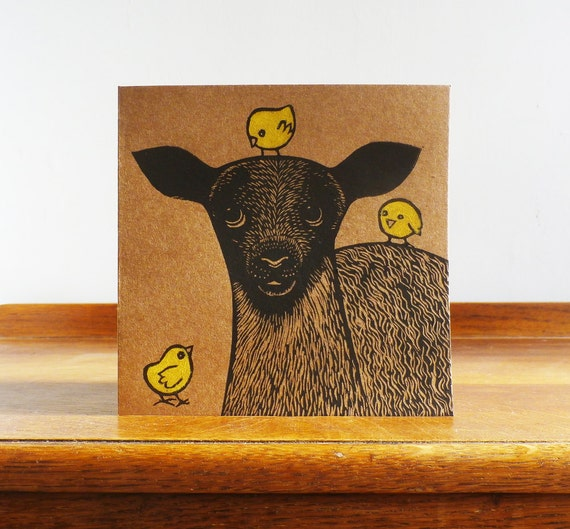 linocut card - lamb and chicks - hand printed - lino cut - animal card - Kat Lendacka -  blank greeting card - easter - free postage