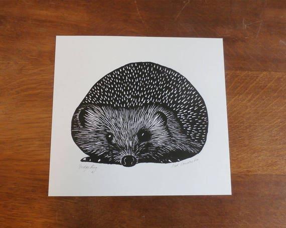 linocut print - hedgehog linocut print - signed open edition - free postage in UK - hand printed - Kat Lendacka - block print