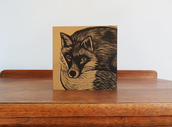 fox linocut card - free postage in UK