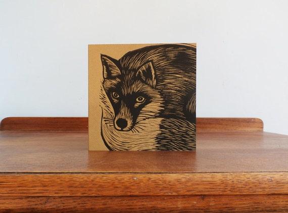 fox linocut card - free postage in UK