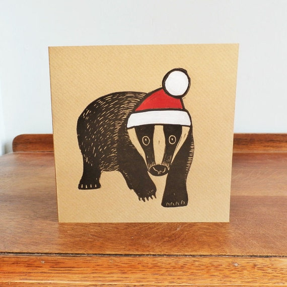 christmas linocut card - badger - hand printed card Kat Lendacka - linoprint - blank greeting card - brown kraft card - free postage in UK